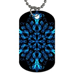 Blue Snowflake On Black Background Dog Tag (Two Sides)