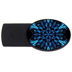 Blue Snowflake On Black Background Usb Flash Drive Oval (2 Gb)