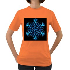 Blue Snowflake On Black Background Women s Dark T-Shirt