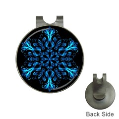 Blue Snowflake On Black Background Hat Clips With Golf Markers
