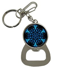 Blue Snowflake On Black Background Button Necklaces