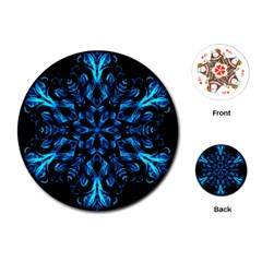 Blue Snowflake On Black Background Playing Cards (round)