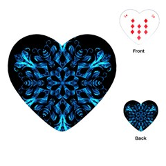 Blue Snowflake On Black Background Playing Cards (Heart)