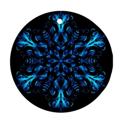 Blue Snowflake On Black Background Round Ornament (two Sides)