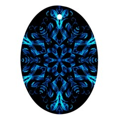 Blue Snowflake On Black Background Oval Ornament (two Sides)