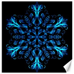 Blue Snowflake On Black Background Canvas 20  x 20