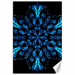 Blue Snowflake On Black Background Canvas 20  X 30