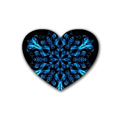 Blue Snowflake On Black Background Rubber Coaster (Heart)