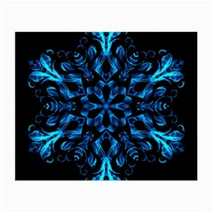 Blue Snowflake On Black Background Small Glasses Cloth (2-Side)