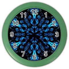 Blue Snowflake On Black Background Color Wall Clocks