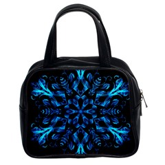 Blue Snowflake On Black Background Classic Handbags (2 Sides)
