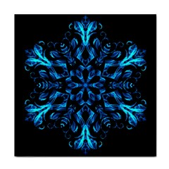 Blue Snowflake On Black Background Face Towel