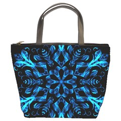 Blue Snowflake On Black Background Bucket Bags