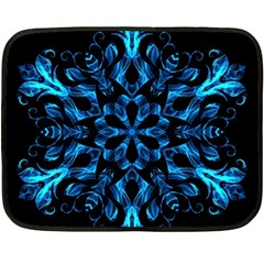 Blue Snowflake On Black Background Fleece Blanket (mini)