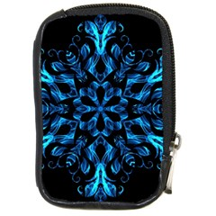 Blue Snowflake On Black Background Compact Camera Cases