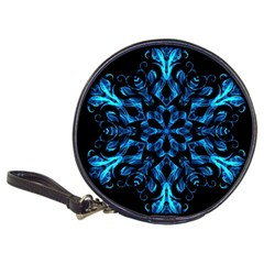 Blue Snowflake On Black Background Classic 20-CD Wallets