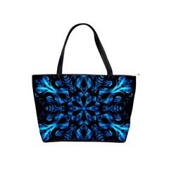 Blue Snowflake On Black Background Shoulder Handbags
