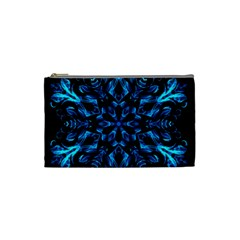 Blue Snowflake On Black Background Cosmetic Bag (Small)