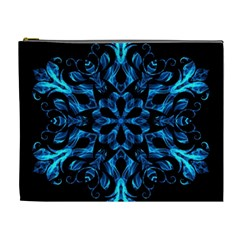 Blue Snowflake On Black Background Cosmetic Bag (XL)