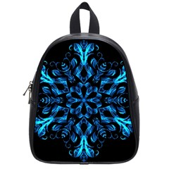 Blue Snowflake On Black Background School Bags (Small)