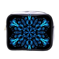 Blue Snowflake On Black Background Mini Toiletries Bags