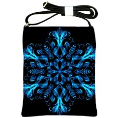 Blue Snowflake On Black Background Shoulder Sling Bags