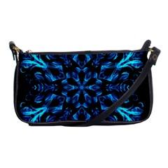 Blue Snowflake On Black Background Shoulder Clutch Bags