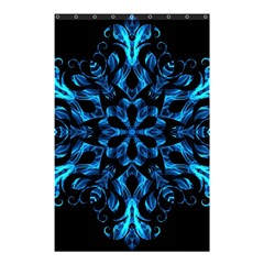 Blue Snowflake On Black Background Shower Curtain 48  x 72  (Small)