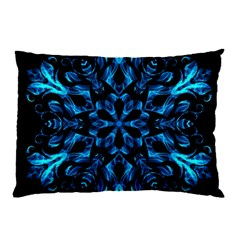 Blue Snowflake On Black Background Pillow Case (Two Sides)