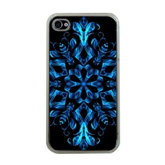 Blue Snowflake On Black Background Apple Iphone 4 Case (clear)