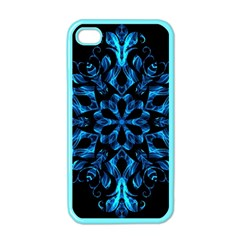Blue Snowflake On Black Background Apple iPhone 4 Case (Color)