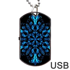 Blue Snowflake On Black Background Dog Tag USB Flash (One Side)