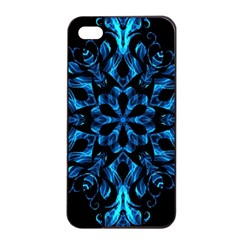 Blue Snowflake On Black Background Apple iPhone 4/4s Seamless Case (Black)