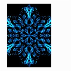Blue Snowflake On Black Background Small Garden Flag (two Sides)