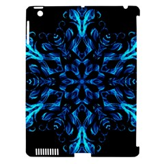 Blue Snowflake On Black Background Apple Ipad 3/4 Hardshell Case (compatible With Smart Cover)