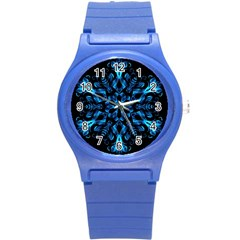 Blue Snowflake On Black Background Round Plastic Sport Watch (s)