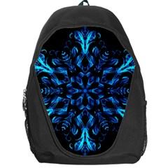 Blue Snowflake On Black Background Backpack Bag