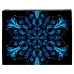 Blue Snowflake On Black Background Cosmetic Bag (XXXL)  Front