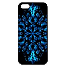 Blue Snowflake On Black Background Apple iPhone 5 Seamless Case (Black)