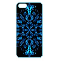 Blue Snowflake On Black Background Apple Seamless iPhone 5 Case (Color)