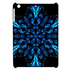Blue Snowflake On Black Background Apple Ipad Mini Hardshell Case