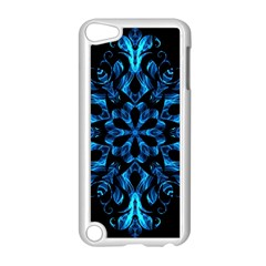 Blue Snowflake On Black Background Apple Ipod Touch 5 Case (white)