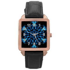 Blue Snowflake On Black Background Rose Gold Leather Watch