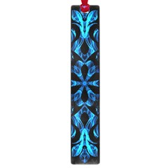 Blue Snowflake On Black Background Large Book Marks