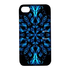 Blue Snowflake On Black Background Apple Iphone 4/4s Hardshell Case With Stand