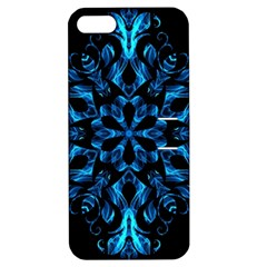 Blue Snowflake On Black Background Apple iPhone 5 Hardshell Case with Stand