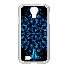 Blue Snowflake On Black Background Samsung Galaxy S4 I9500/ I9505 Case (white)