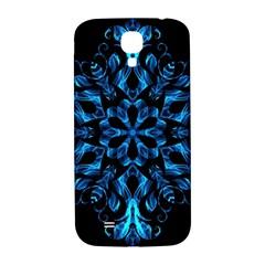 Blue Snowflake On Black Background Samsung Galaxy S4 I9500/i9505  Hardshell Back Case