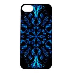 Blue Snowflake On Black Background Apple iPhone 5S/ SE Hardshell Case