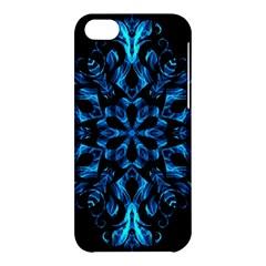 Blue Snowflake On Black Background Apple Iphone 5c Hardshell Case